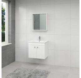 Ensemble de meubles de salle de bains York miroir 65cm blanc poignée inox