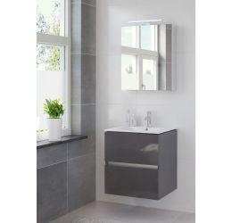 Ensemble de meubles de salle de bains Miko armoire à glace 60 anthracite brillant