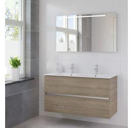 Ensemble de meubles de salle de bains Miko 120cm lavabo double céramique blanc