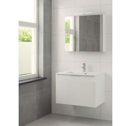 Ensemble meuble Matera armoire à miroir 80 cm blanc brillant