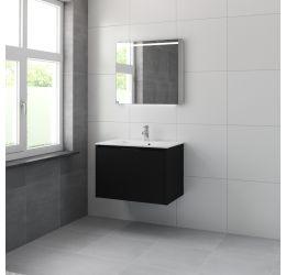 Ensemble meuble Matera armoire à miroir 80 cm noir soie