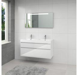 Ensemble de meubles de salle de bains Monta 3 miroir 120cm blanc brillant
