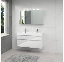 Ensemble de meubles de salle de bains Monta 3 armoire à glace 120cm blanc brillant