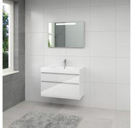 Ensemble de meubles de salle de bains Monta 3 miroir 90cm blanc brillant