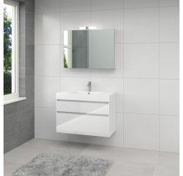 Ensemble de meubles de salle de bains Monta 3 armoire à glace 90cm blanc brillant
