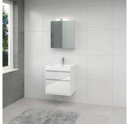 Ensemble de meubles de salle de bains Monta 3 armoire à glace 60cm blanc brillant