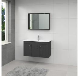 York badmeubelset spiegel 100cm hacienda zwart greep RVS