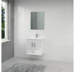 Omni badmeubel 65cm hoogglans wit spiegel