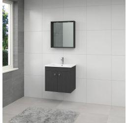 York badmeubelset spiegel 65cm hacienda zwart greep RVS