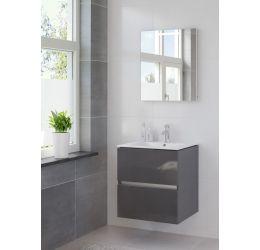 Miko badmeubelset spiegel 60 hoogglans antraciet