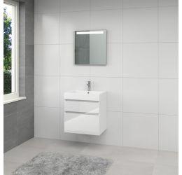 Monta 3 badmeubelset spiegel 60cm hoogglans wit