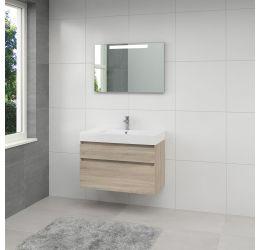 Monta 3 badmeubelset spiegel 90cm grijs eiken