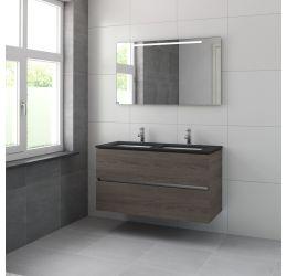 Miko badmeubelset 120 cm dubbele wastafel graniet-Spiegel-Orlando eiken
