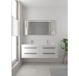 Bando badmeubelset 150 cm met dubbele wasbak-Spiegel-Zwart-Mat wit
