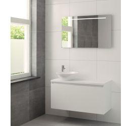 Nerano badmeubelset spiegel 100cm mat wit waskom