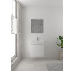 Box badmeubelset 60 cm-Spiegel-Mat wit
