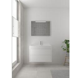 Box badmeubelset 90 cm-Spiegel-Mat wit