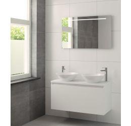Nerano badmeubelset spiegel 100cm mat wit dubbele waskom