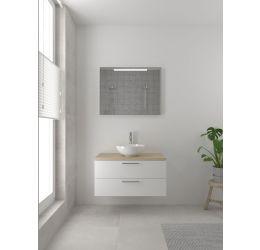 Combo badmeubelset 90 cm-Spiegel-Mat wit