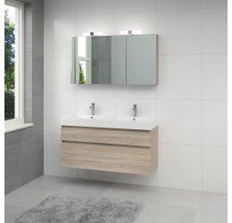 Monta 3 badmeubelset spiegelkast 120cmD grijs eiken